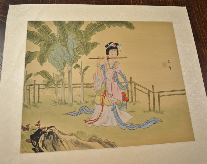 Vintage Silk Painting Geisha Playing Flute Signed Japanese Panchosporch