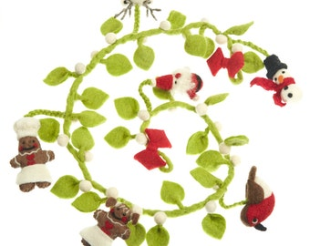 Mistletoe Garland - Felt Decorations - Needle felted Ornaments - Christmas - Wool felt - Xmas Tree Decorations- Merino -Ethical-Handmade