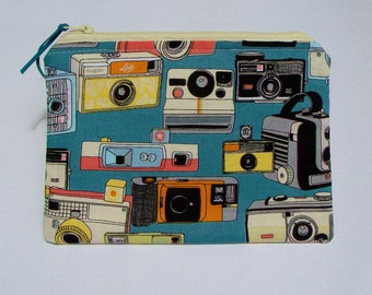 Retro Vintage Cameras fabric zipper pouch/ purse/ bag - CLEARANCE