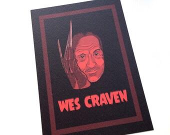Wes Craven postcard-sized print