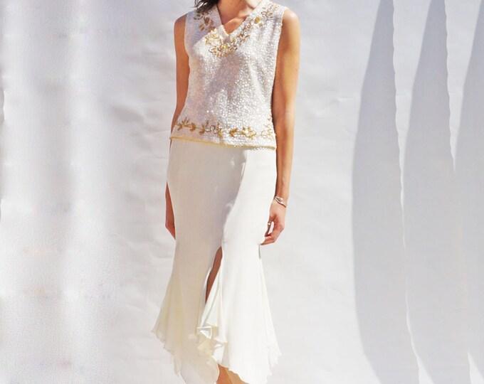 Sequin Bridal Separates, Vintage 60s Ivory Sequin Bridal Top, High Waist Ivory Midi Skirt, Bridal Sets, Vintage Co-Ord, Wedding Dress Alt