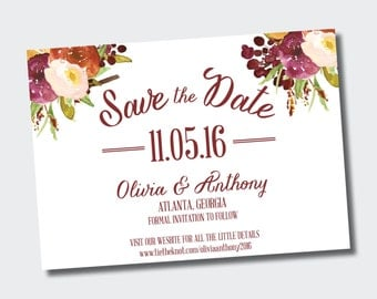 Save the Date | Floral Marsala Save our Date | Wedding Announcement