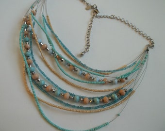 """CHICO'S necklace, multi strand, seed beads, 22""""+3""""extension, great condition"""