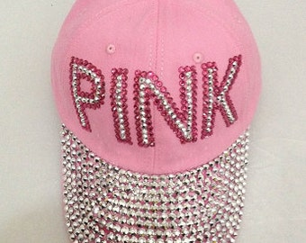 Light Pink trimmed in Pink Rhinestud Cap