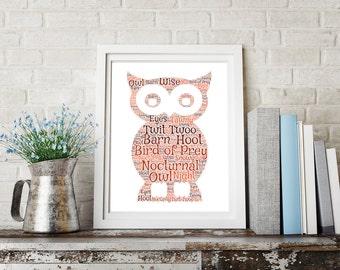 Personalised Wise Owl Word Art Print Wordart UK Picture