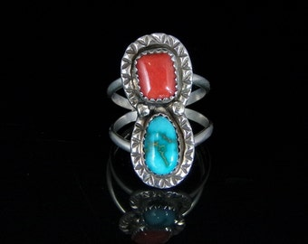 Sleeping Beauty Turquoise and Coral Ring Sterling Silver Handmade Size 6.75, R0459