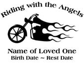 In Loving Memory Chopper Motorcycle Flames Decal Sticker