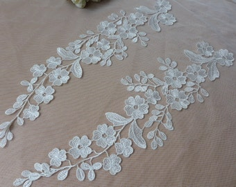 Beautiful Venice Lace Applique Pair in Off-White for Weddings, Bridal, Garters, Altered Couture
