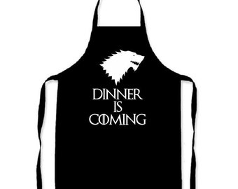 Dinner is Coming - Game of Thrones inspired Adults apron Winter is Coming kitchen cooking novelty item