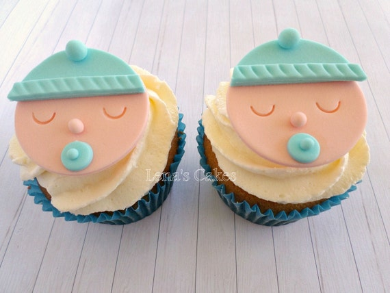 Baby Boy Shower Cupcake Fondant Edible Toppers, Gender Reveal Party, Baby  Shower Decor, 1st Birthday Party, Baby Face Edible Toppers
