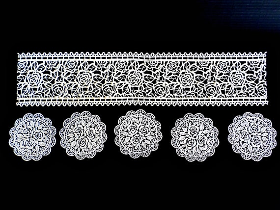 Cake Decorating With Edible Lace : Edible Lace Set- 2 Sugar Lace Strips & 5 Sugar Doilies ...