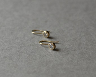 Gold CZ Drop Hoop Earrings  - Gold plated over Sterling Silver