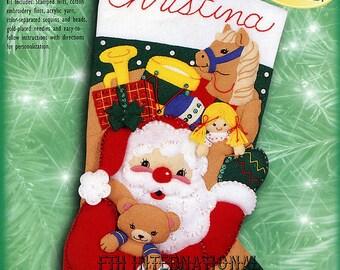 """Bucilla Santa & Toys ~ 18"""" Felt Christmas Stocking Kit #84059 Teddy and Doll DIY"""