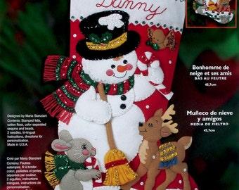 Bucilla' Snowman & Friends Felt Stocking Kit OOP Snow Deer Birds Animals 84951 DIY