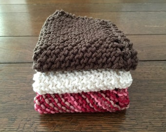 3 pk KNITTED WASH CLOTHs Cotton Simple
