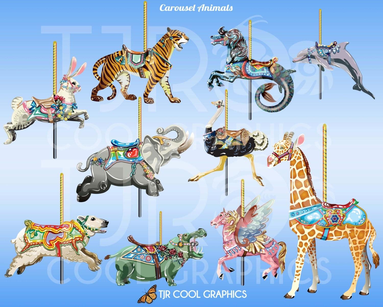 Carousel Animals Carousel Horses Digital Clip Art