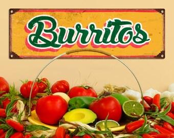 Burritos Mexican Restaurant Wide Metal Sign - #60644