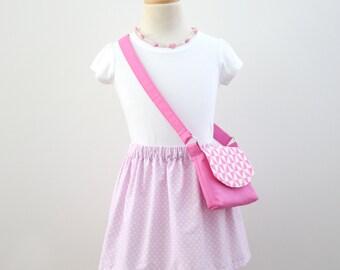 Little Girls Bag / Crossbody Bag / Handbag / Kids Bag / Pink and White Geometric