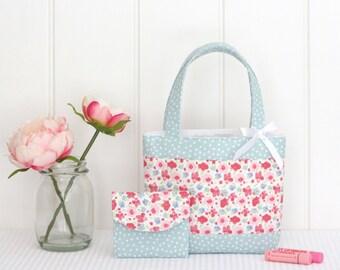 Mini Tote Bag & Purse / Girls Bag / Kids Bag / Wallet - Pink Floral and Mint Spot