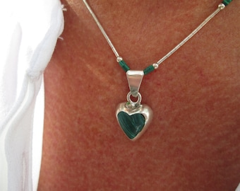 Malachite and Sterling Silver Heart Necklace