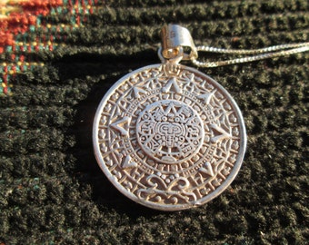 Aztec Calendar Sterling Silver Pendant Necklace