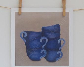 WALL ART PRINT. Cup Coffee. 9'x9' . Kitchen decor