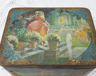 French vintage large  tin box  , romantic scene with courtiser couple,lovers,marie antoinette  decor, tea box,coffee box,sugar box