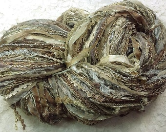 Art Yarn hand tied multifibers and ribbons, hand dyed 150 yds oyster knitting, scarf