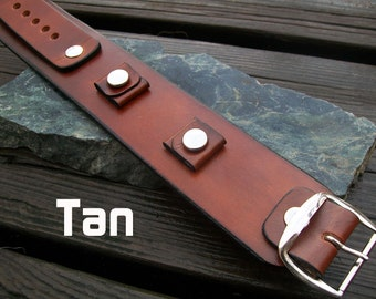 1.5 Inch Leather Cuff Watch Bands | Plain Colors