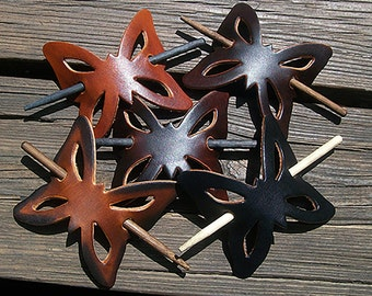 Handmade Butterfly Leather Stick Barrettes