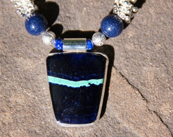 Necklace / Pendant : Lapis Lazuli and Malachite