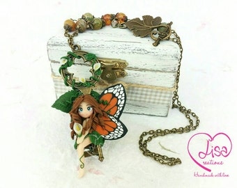 Fairy necklace on key entirely handmade polymer clay