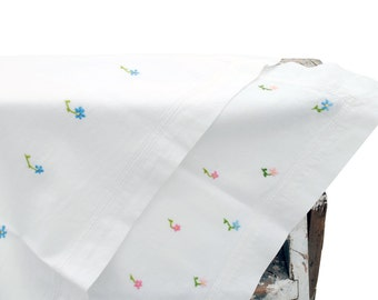 2 x White Cotton Pillowcases with Hand Embroidered Flowers in Pink & Blue 1960s 1970s Retro Vintage