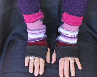 Wrist warmers , Long arm warmers , Gloves , Finger-less gloves , Up-cycled sweaters , Winter gloves , Boho finger-less gloves.