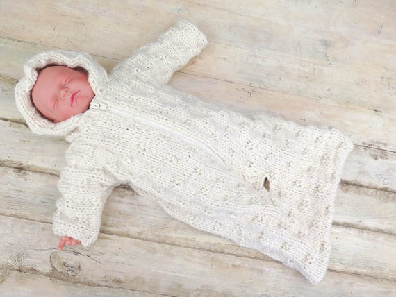 Baby Sleeping Bag Knitting Pattern : KNITTING PATTERN Baby Sleeping Bag Baby Bunting Hooded Baby