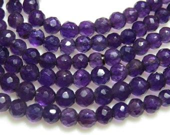 14'' inches long strand - Dark Purple - AMETHYST - Micro Cut Fine Cut Round ball  Beads size 4 mm