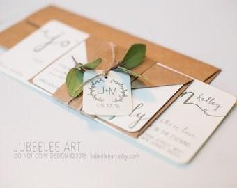 Rustic modern calligraphy wedding invitation, garden wedding, leaves, foliage, kraft paper