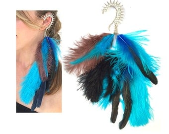 Blue feather ear cuff,Spike ear cuff,Hippie ear cuff, Boho,Punk ear cuff,Rock Festival Gypsy ear wrap,Long feather earring,Christmas gift