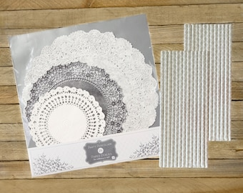 24 Silver and White Paper Doilies, Damask Paper Straws, Wedding, Tea, Cake, Dessert Supply, Bridal Shower Supply