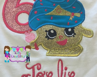 Shopkins Birthday Shirt, Shopkins Cupcake Queen, Shopkins Shirt, Shopkins Embroidered Shirt, Cupcake, Cupcake Queen