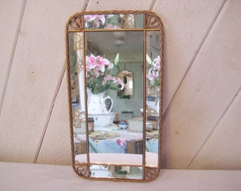 Small wall mirror, hanging mirror, entry way, hall mirror, bathroom mirror, bedroom boudoir mirror, gold mirror, mid century, 6 panels, 1049