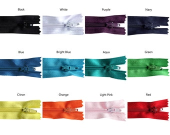 11 inch Rainbow Pack of Zippers - 20 Pieces - You Pick Colors