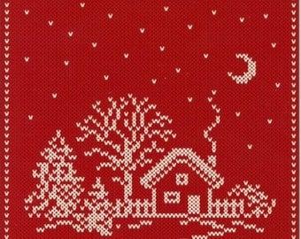 Nordic Knit Looking House Ceramic Tile ~ Trivet ~ Hot pad #1209-66