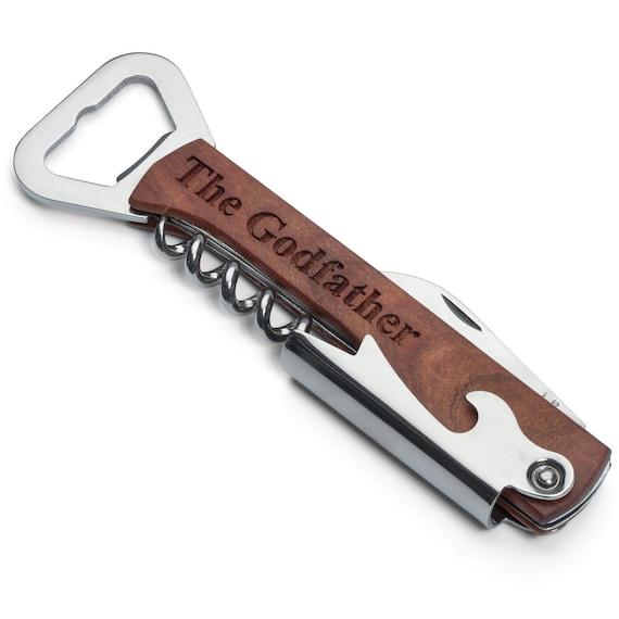 engraved wood stainless steel corkscrew bottle opener knife. Black Bedroom Furniture Sets. Home Design Ideas
