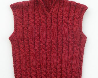 Vest for Boy,Holiday outfit,Hipster Children Clothes, Baby Boy, Cable knit VEST/Sweater,Color - Autumn Red, Christmas Vest, winter clothing
