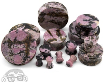 Rhodonite Stone Plugs - Double Flare (6G - 2 Inch) Sold In Pairs - New!