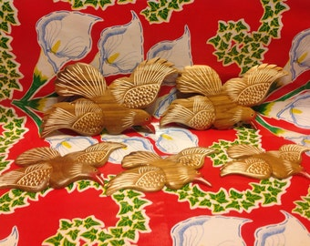 Vintage set of 5 hand carved and decorated wooden birds wall decor