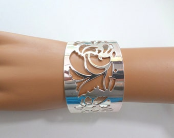 Wide Silver Cuff Bracelet Silver Plated Cutout Bangle Open Back Lightweight Bold Vintage Silver Bangle Cuff Bracelet Jewelry
