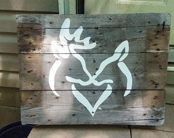 Browning Buck & Doe Sign on repurposed Pallet Wood