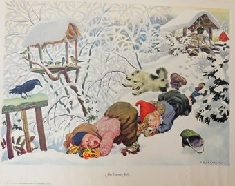 Pictures From Mother Goose By Feodor Rojankovsky 5 Lithographs in the Portfolio 1945